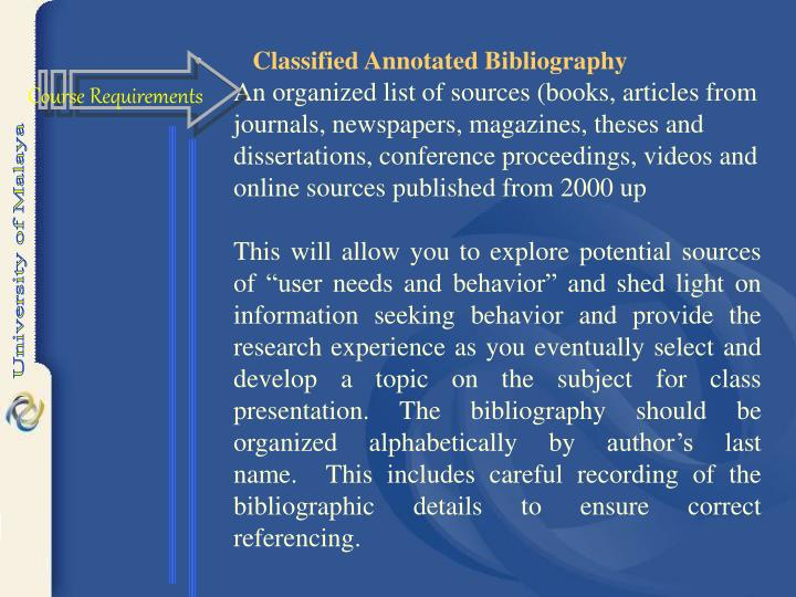 Classified Annotated Bibliography