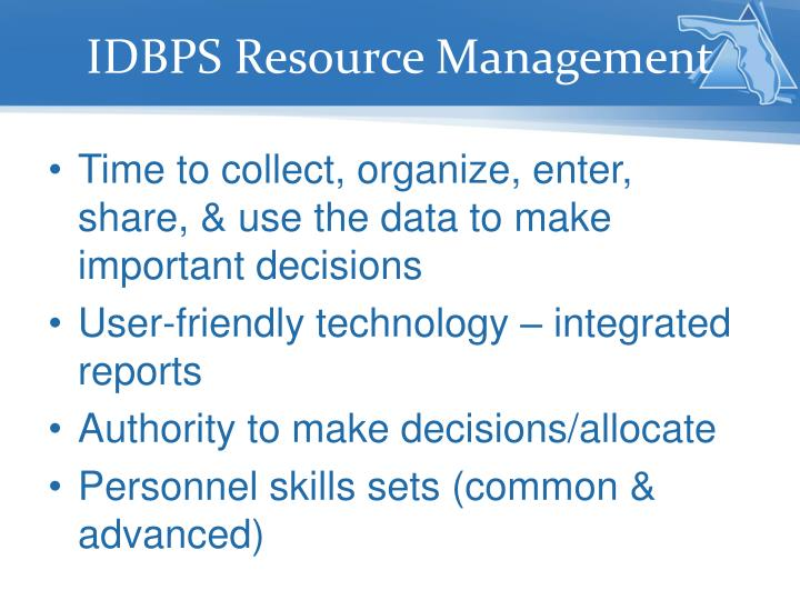 IDBPS Resource Management