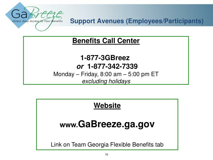 Support Avenues (Employees/Participants)