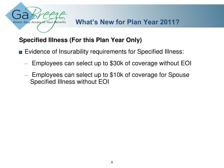 What's New for Plan Year 2011?