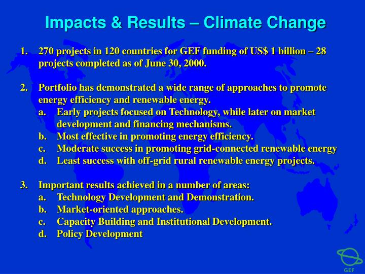 Impacts & Results – Climate Change