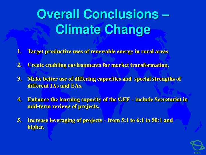 Overall Conclusions – Climate Change