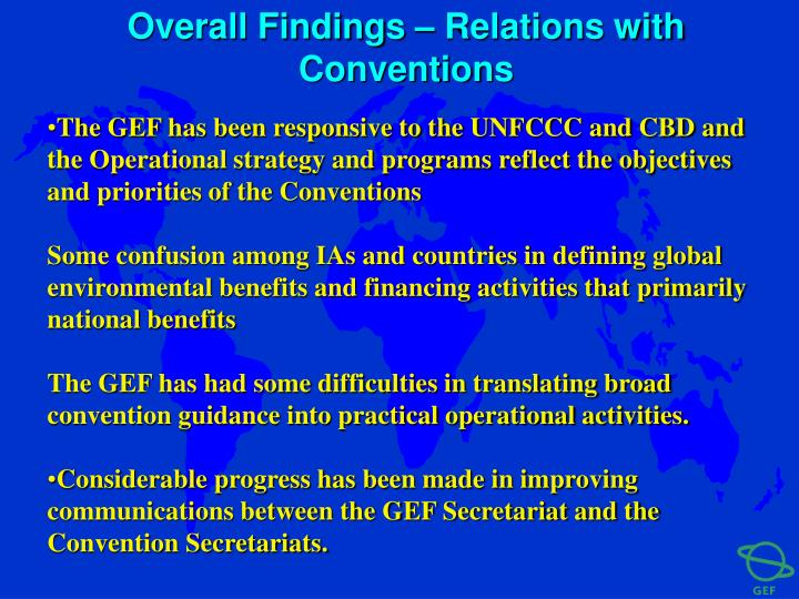 Overall Findings – Relations with Conventions