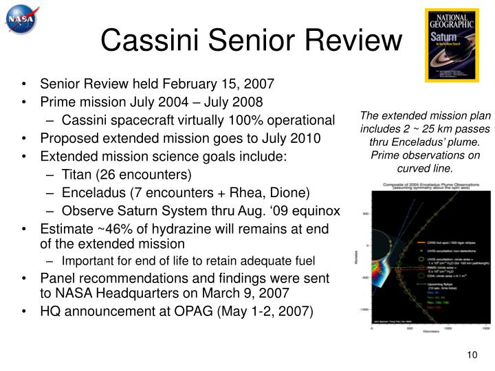 Cassini Senior Review