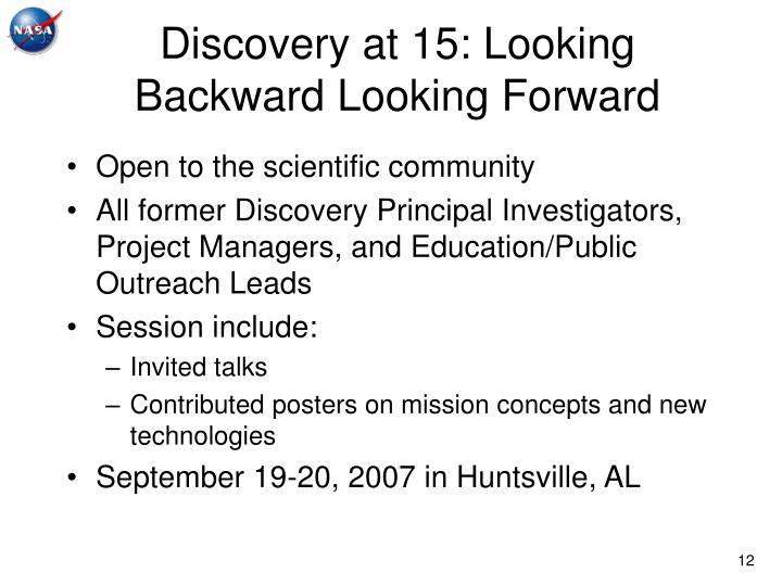 Discovery at 15: Looking Backward Looking Forward