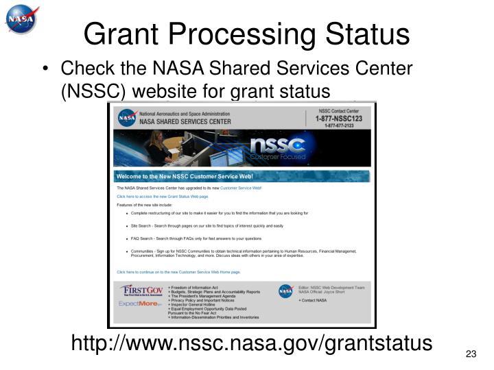 Grant Processing Status