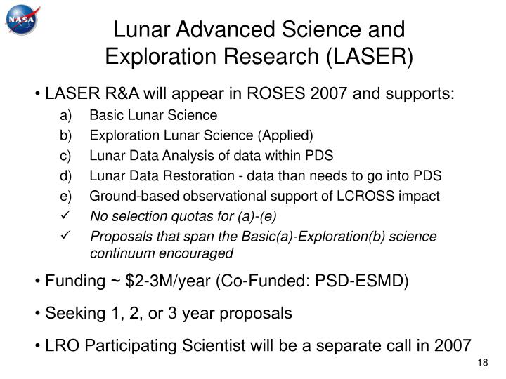 Lunar Advanced Science and