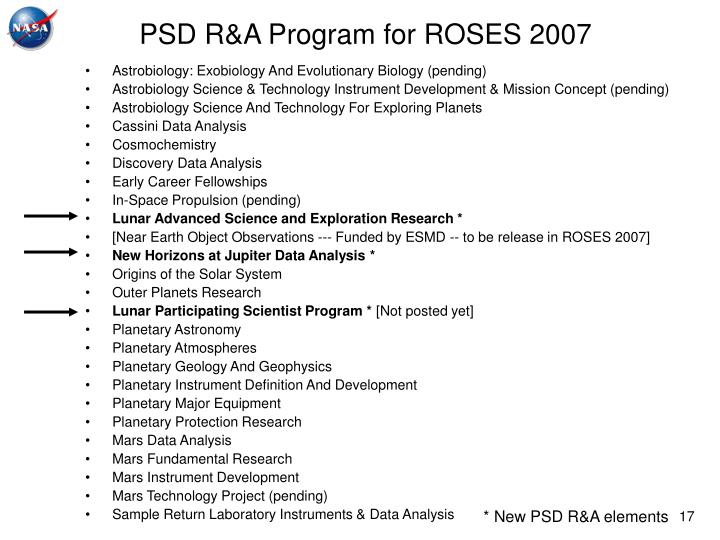 PSD R&A Program for ROSES 2007