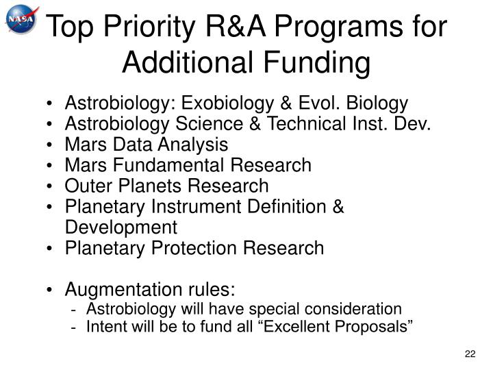 Top Priority R&A Programs for Additional Funding