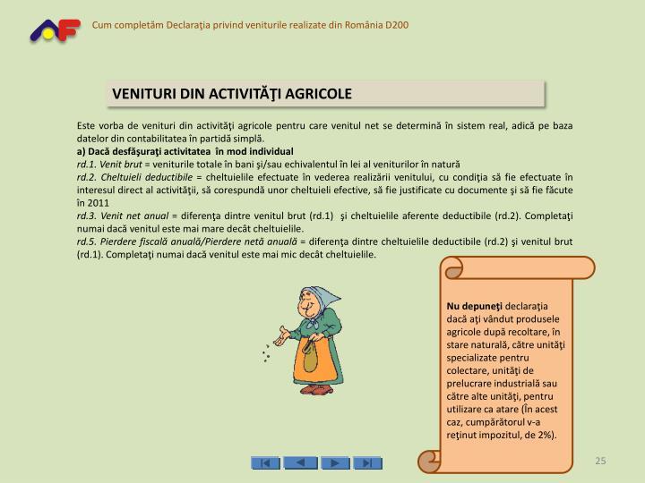 VENITURI DIN ACTIVITĂŢI AGRICOLE