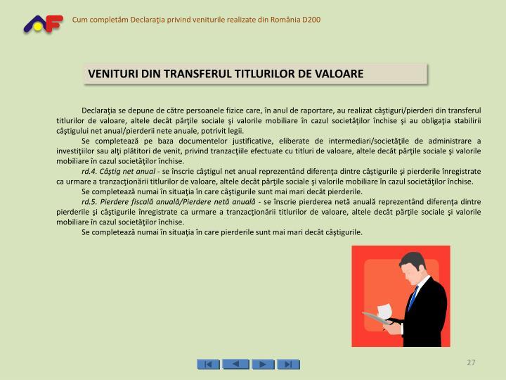 VENITURI DIN TRANSFERUL TITLURILOR DE VALOARE