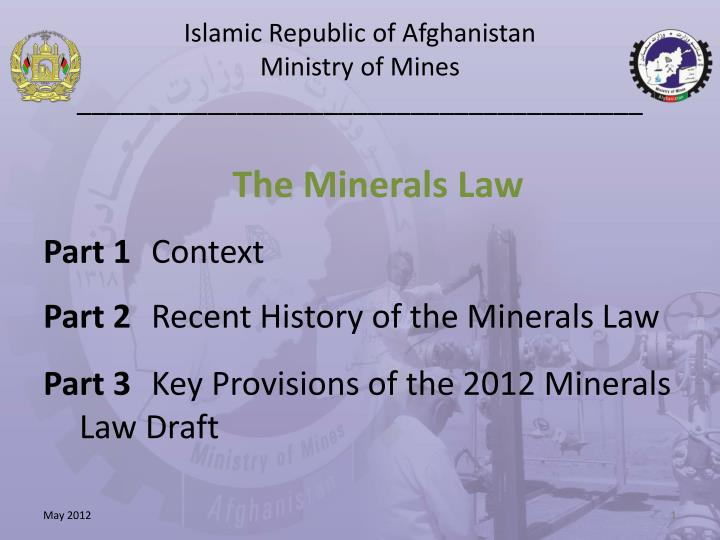 Islamic republic of afghanistan ministry of mines