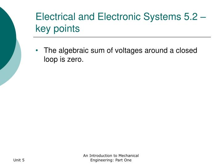 Electrical and electronic systems 5 2 key points1