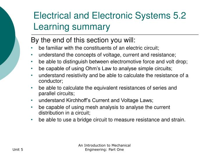 Electrical and electronic systems 5 2 learning summary