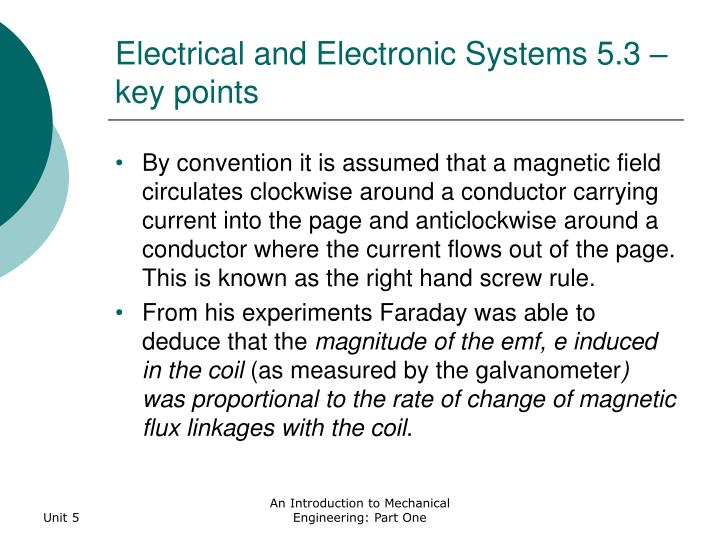 Electrical and Electronic Systems 5.3 – key points