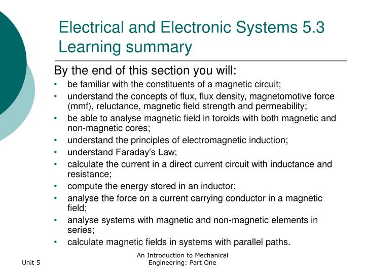 Electrical and Electronic Systems 5.3