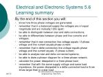 electrical and electronic systems 5 6 learning summary