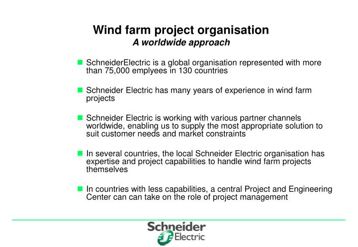 Wind farm project organisation a worldwide approach