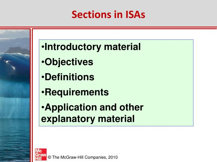 Sections in ISAs