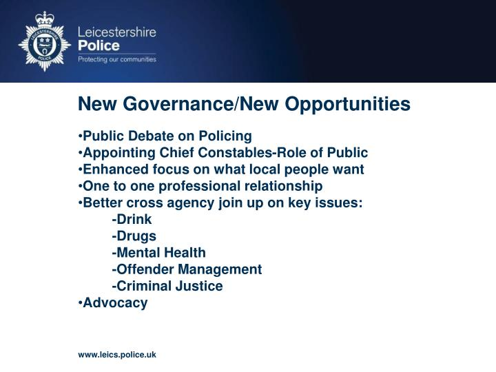 New Governance/New Opportunities