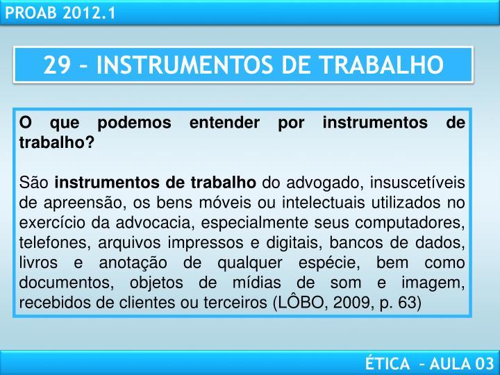 29 – INSTRUMENTOS DE TRABALHO
