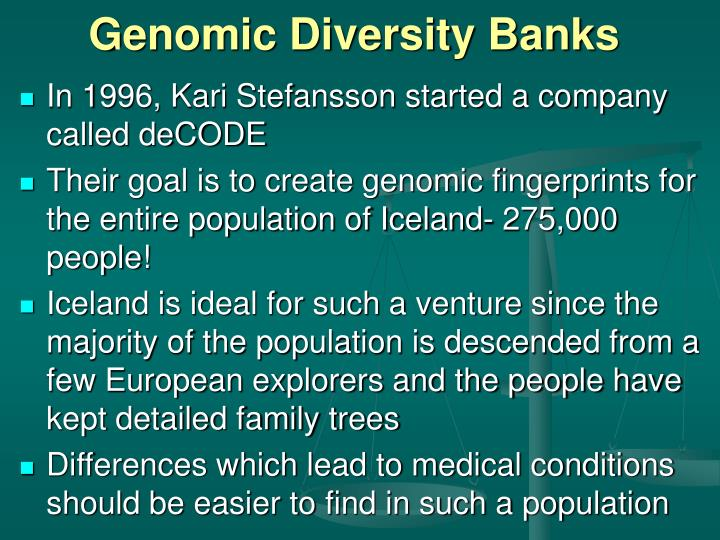 Genomic Diversity Banks