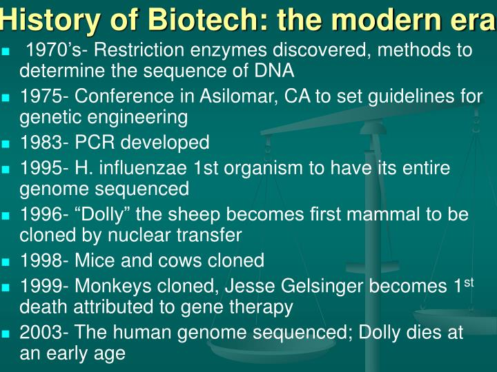 History of Biotech: the modern era