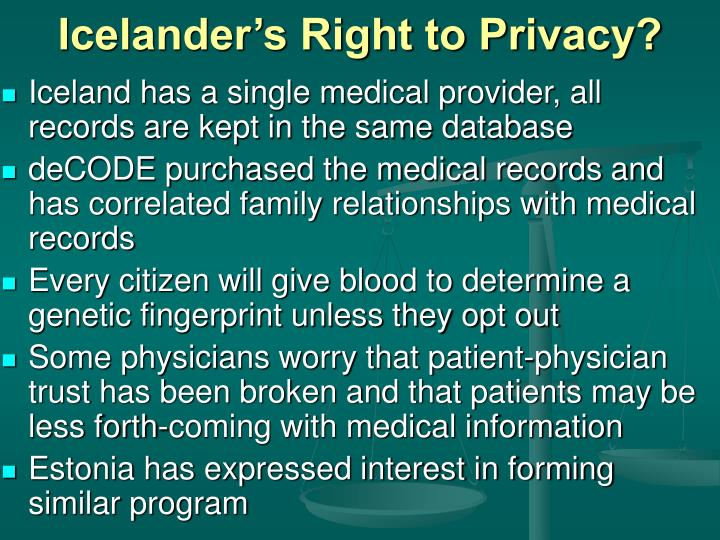 Icelander's Right to Privacy?