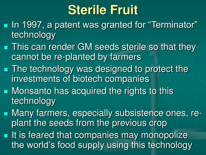 Sterile Fruit
