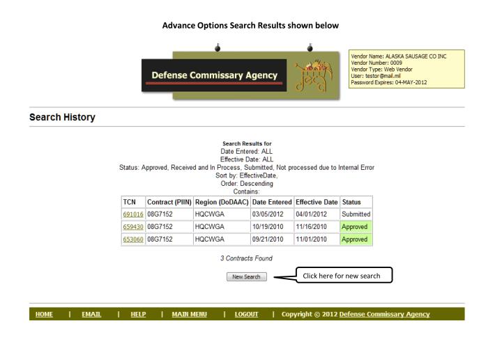 Advance Options Search Results shown below