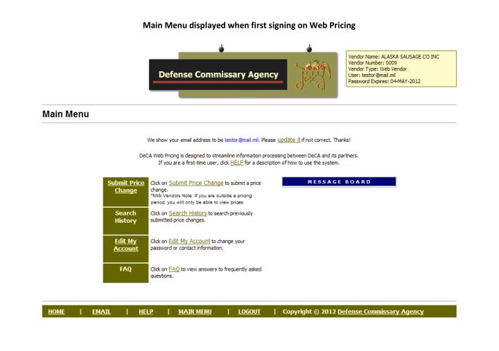 Main Menu displayed when first signing on Web Pricing