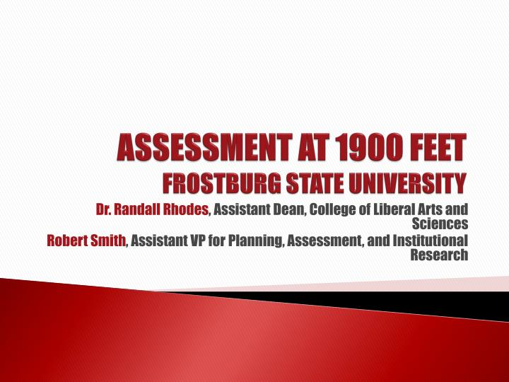 Assessment at 1900 feet frostburg state university