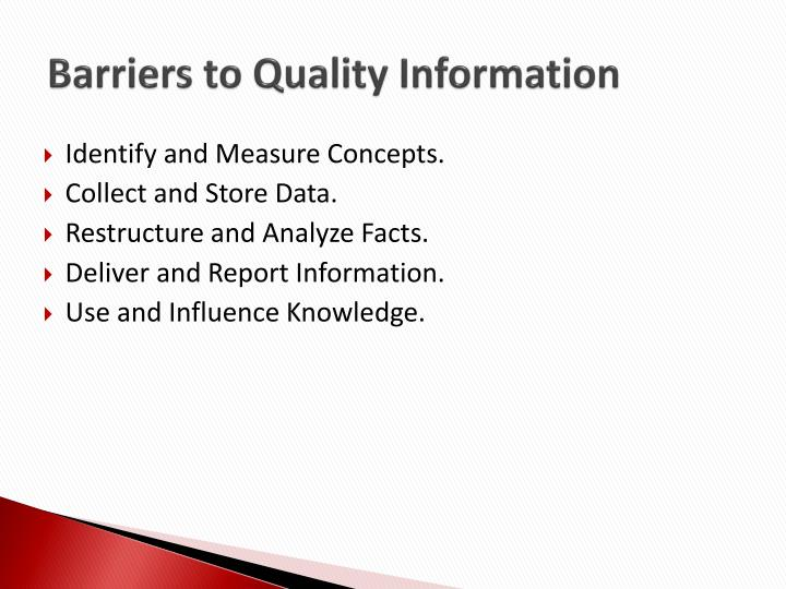 Barriers to Quality Information