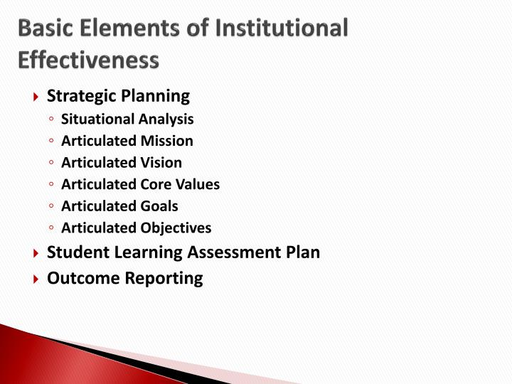 Basic Elements of Institutional Effectiveness