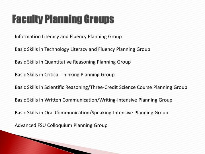 Faculty Planning Groups