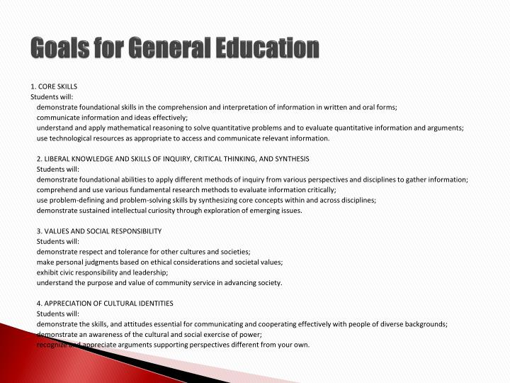Goals for general education