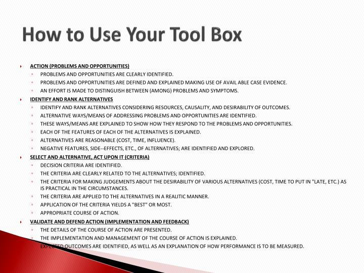 How to Use Your Tool Box