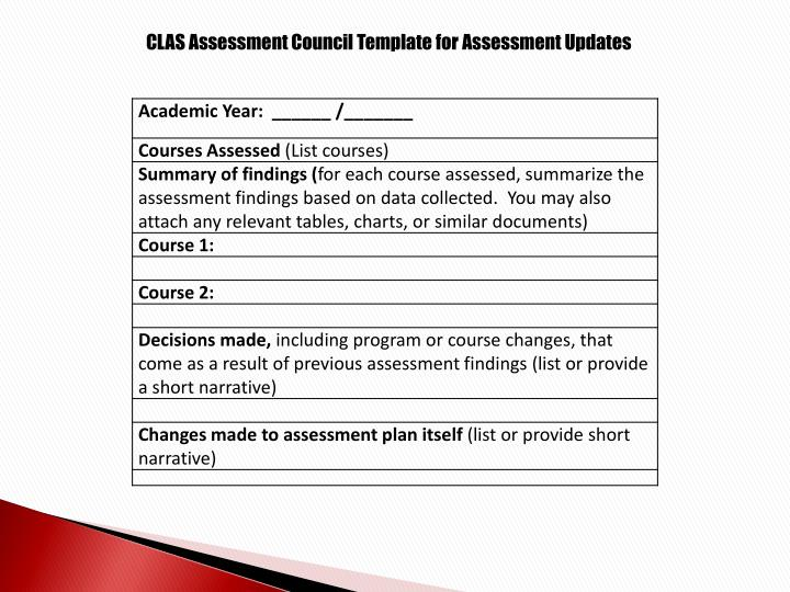 CLAS Assessment Council Template for Assessment Updates