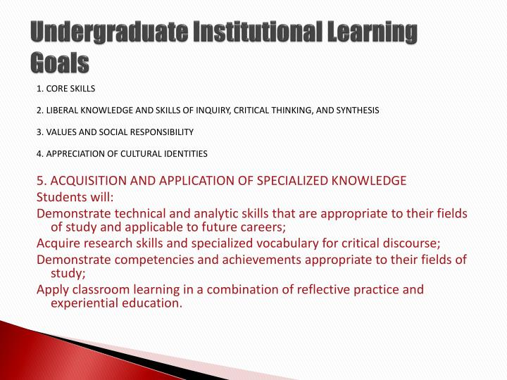 Undergraduate institutional learning goals