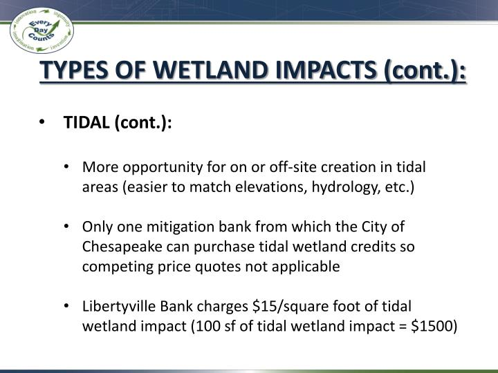 TYPES OF WETLAND IMPACTS (cont.):