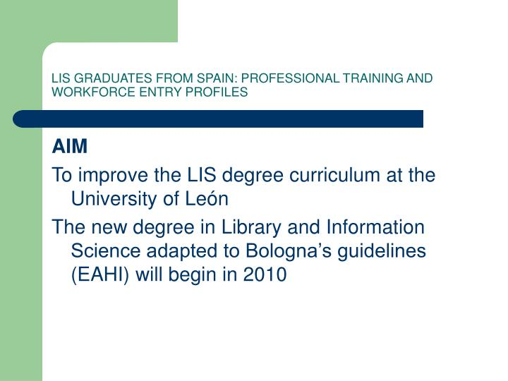 Lis graduates from spain professional training and workforce entry profiles1
