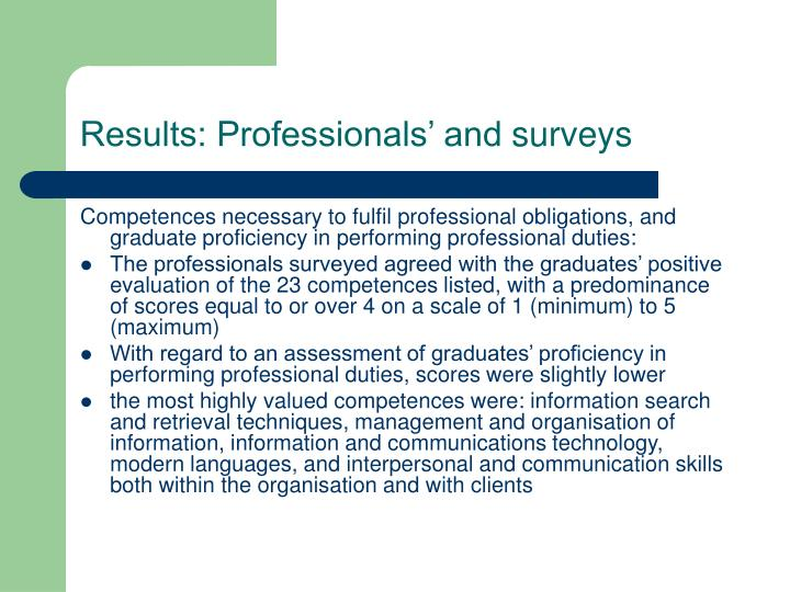 Results: Professionals' and