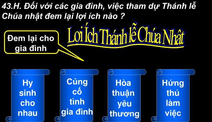 43.H. i vi cc gia nh, vic tham d Thnh l Cha nht em li li ch no ?