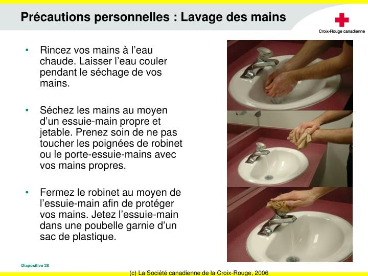 Précautions personnelles : Lavage des mains