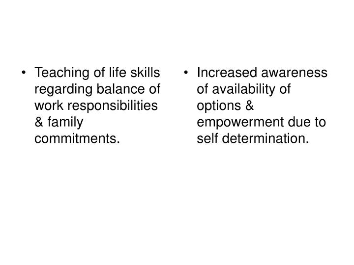 Teaching of life skills regarding balance of work responsibilities & family commitments.
