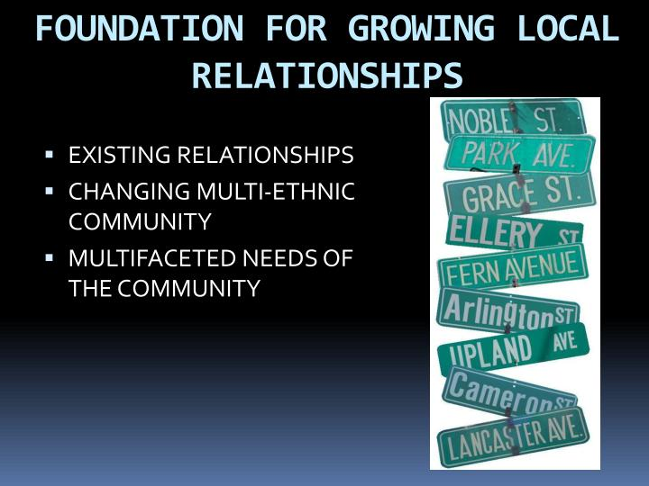 FOUNDATION FOR GROWING LOCAL RELATIONSHIPS