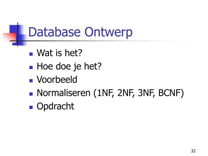 Database Ontwerp
