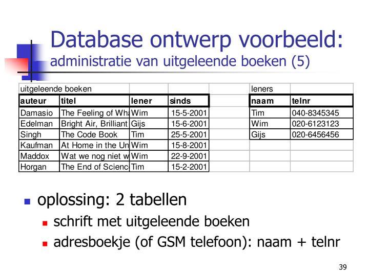 Database ontwerp voorbeeld: