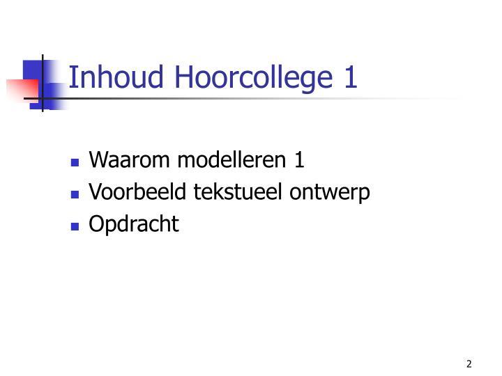 Inhoud Hoorcollege