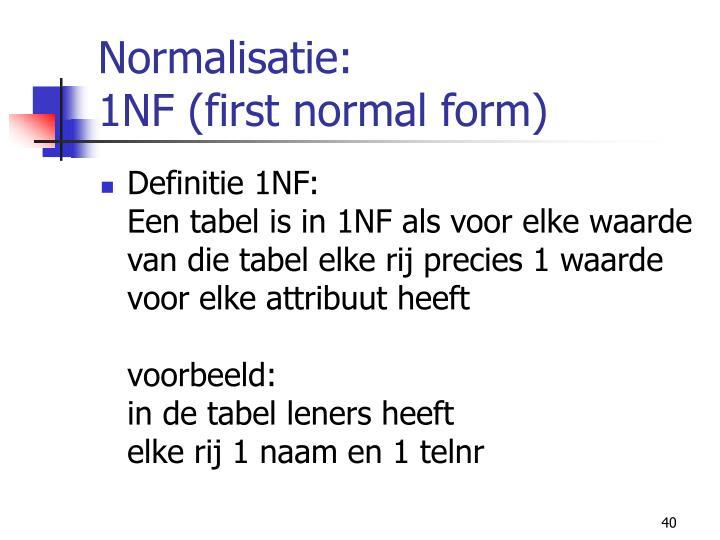 Normalisatie: